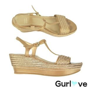 Stuart Weitzman 8.5 M Knit Strappy Wedges Sandals